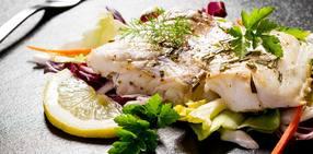 Slow roasted cod salad