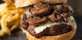 Mushroom swiss smash burgers