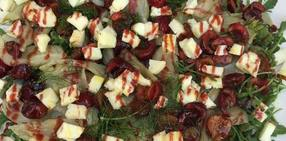 Grilled fennel  cherry and haloumi salad