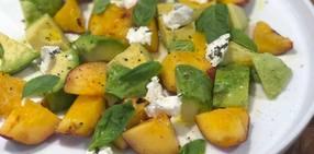 Grilled peach avocado salad